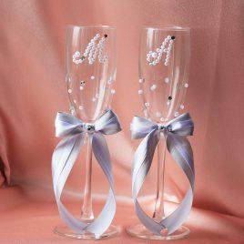 Свадебные бокалы Бусинки и стразинки с инициалами серебро