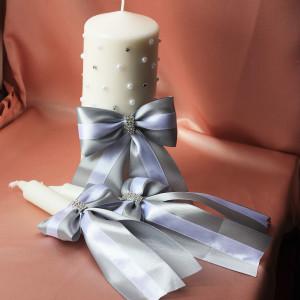 Свадебные свечи Стразинки и бусинки серебро