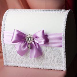Сундук для денег Снежинка с светло фиолетовым