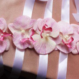 Ленты для подружек невесты Орхидея розовая на белом
