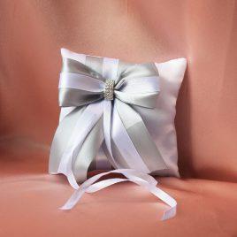 Свадебная подушка для колец Серебро с белым