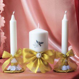 Свадебные свечи Золотые с голубями