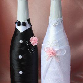 Свадебная одежда на бутылки Образ с розовым