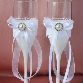 Свадебные бокалы Эфир белый
