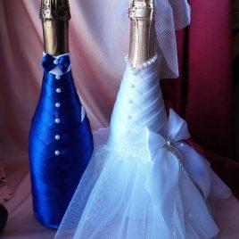 Одежда на бутылки не съемная синий с белым №1