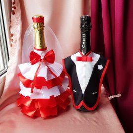 Одежда на бутылки бело-красный №11 ( съемная )