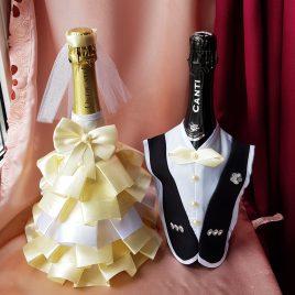 Одежда на бутылки айвори №9 ( съемная )
