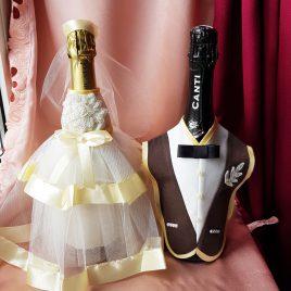 Одежда на бутылки айвори №6 ( съемная )