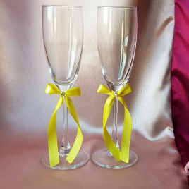 Свадебные бокалы Скромная пара желтая 1,2см №16
