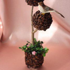 кофейное дерево с птичкой