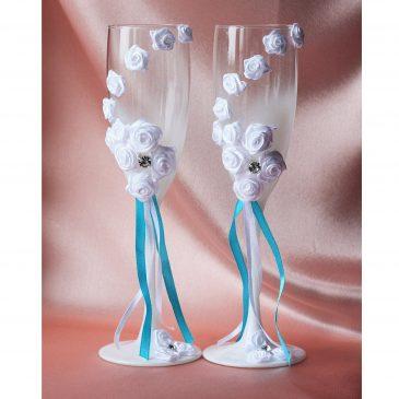 """Свадебные бокалы """"Белые розы с бирюзой"""""""