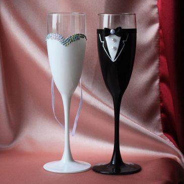 Свадебные бокалы «Высокие Жених и Невеста»