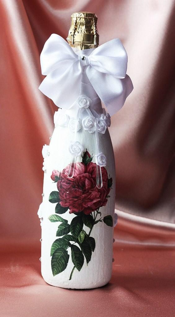 """Свадебный наряд для бутылки """"Натюрморт с золотинкой"""""""