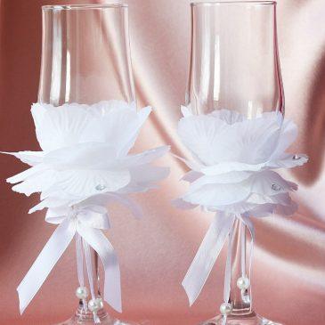 """Свадебные бокалы """"Лепестки розы"""""""