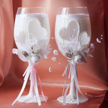 """Свадебные бокалы """"Любящие сердца"""""""