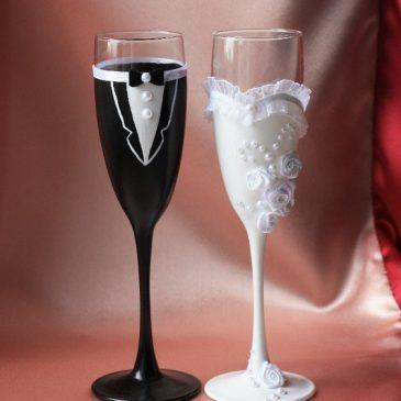 Свадебные бокалы Молодожены высокие бокалы
