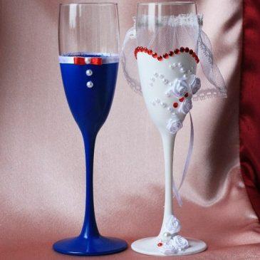 Жених и невеста синие с красными стразами