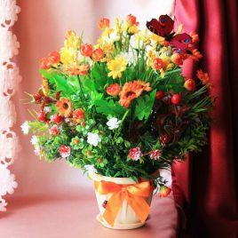 Горшочек с цветами (~35 см),