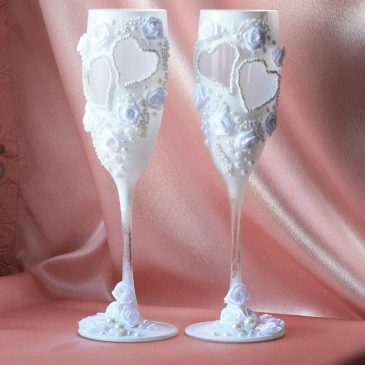 Свадебные бокалы Белый бисер