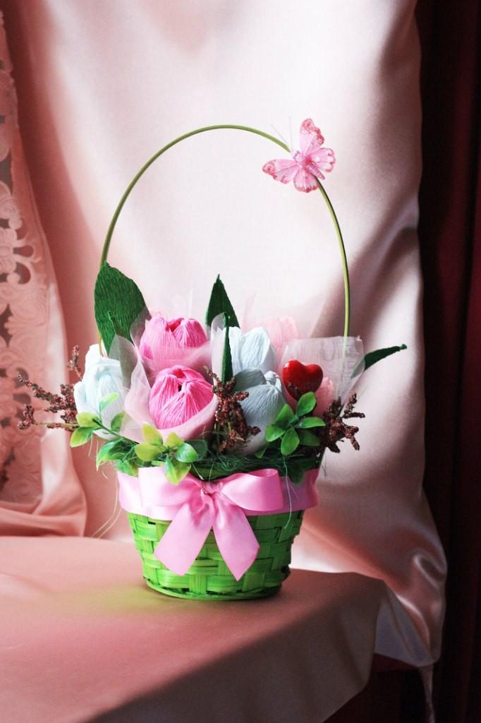 Корзинка 11 тюльпанов с кофетами