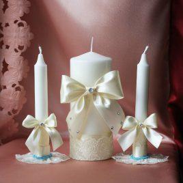 Свадебные свечи Свечи айвори с голубым