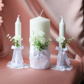 Свадебные свечи с белыми розами