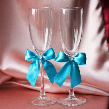 Свадебные бокалы Скромная пара бирюза