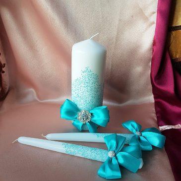 Свадебные свечи Роспись бирюза шик №24
