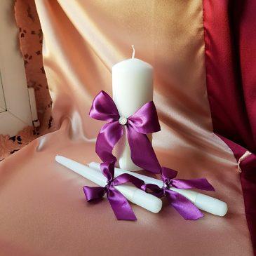 Свадебные свечи Фиолетовый на айвори №23
