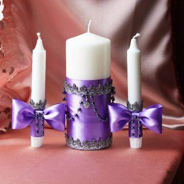 Свадебные свечи Сиреневые фиалки