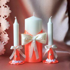 Свадебные свечи Коралловые