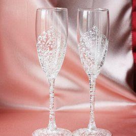 Свадебные бокалы Дуэт белый