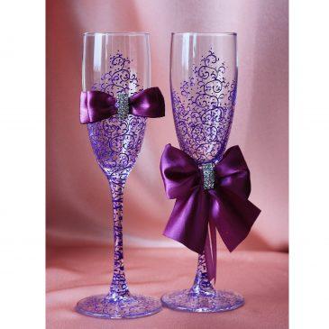 Свадебные бокалы Грация фиолетовая