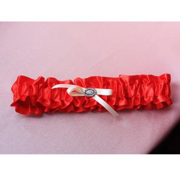 Подвязка атласная красная с айвори
