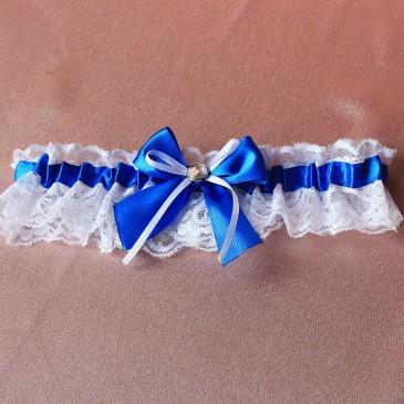 Свадебная подвязка Синяя лента