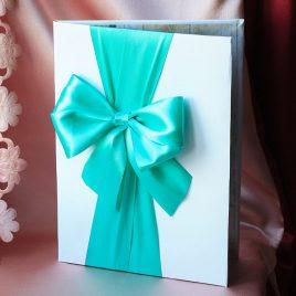 Папка для свидетельства о браке Бант Бирюза Формат А4