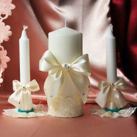 Свадебные свечи семейный очаг айвори с бирюзой