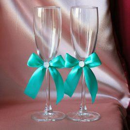 Свадебные бокалы Скромная пара бирюзовая 2