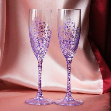 Свадебные бокалы Дуэт сиреневый
