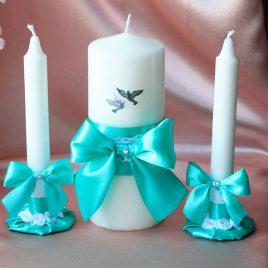 Свадебные свечи Бирюзовые с голубями