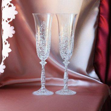 Свадебные бокалы Дуэт Люкс белый