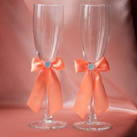 Свадебные бокалы скромная пара коралловый 2,5 см