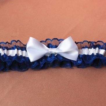 Свадебная подвязка для невесты синяя