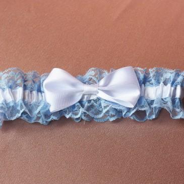 Свадебная подвязка для невесты голубая