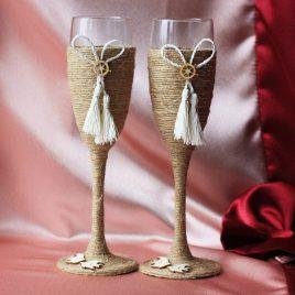 """Свадебные бокалы """"Плетение"""""""