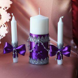 Свадебные свечи Фиолетовые Фиалки