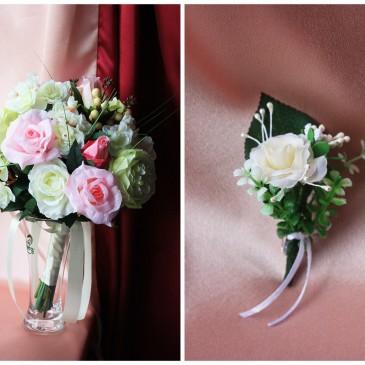 Свадебный букет невесты Нежность и бутоньерка