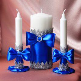 Свадебные свечи Синие фиалки