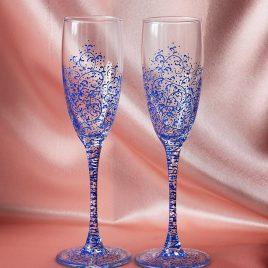Свадебные бокалы Дуэт синий