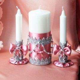 Свадебные свечи Розовые фиалки с подсвечниками
